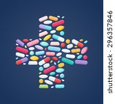colorful pills tablets capsules ... | Shutterstock .eps vector #296357846
