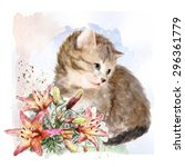 Fluffy Kitten With Lilies. ...