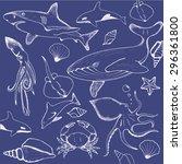 sea hand drawin pattern   Shutterstock . vector #296361800