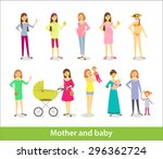pregnant woman and woman with... | Shutterstock .eps vector #296362724