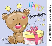 greeting card cute teddy bear... | Shutterstock .eps vector #296362910