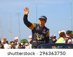 Milwaukee Wisconsin, USA - July 12, 2015: Verizon Indycar Series Indyfest ABC 250 at the Milwaukee Mile. Driver introductions before the race Ryan Brisco. - stock photo