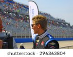 Milwaukee Wisconsin, USA - July 12, 2015: Verizon Indycar Series Indyfest ABC 250 at the Milwaukee Mile. Driver introductions before the race Josef Newgarden, pole position. - stock photo