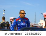 Milwaukee Wisconsin, USA - July 12, 2015: Verizon Indycar Series Indyfest ABC 250 at the Milwaukee Mile. Driver introductions before the race Tony Kanaan. - stock photo