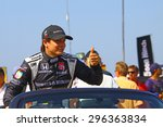 Milwaukee Wisconsin, USA - July 12, 2015: Verizon Indycar Series Indyfest ABC 250 at the Milwaukee Mile. Driver introductions before the race Gabby Chaves (R) - stock photo