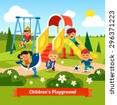 kids playing on playground.... | Shutterstock .eps vector #296371223