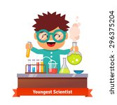 youngest scientist. baby kid... | Shutterstock .eps vector #296375204