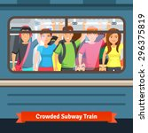 crowded subway train. young... | Shutterstock .eps vector #296375819