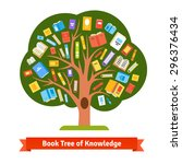 book tree of knowledge and...   Shutterstock .eps vector #296376434