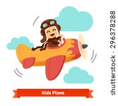 happy smiling kid flying plane... | Shutterstock .eps vector #296378288