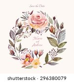 Stock vector wedding invitation template with watercolor floral wreath beautiful roses and leaves 296380079