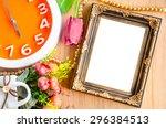 flowers vase and vintage white... | Shutterstock . vector #296384513