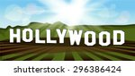 hollywood sign. popular... | Shutterstock .eps vector #296386424