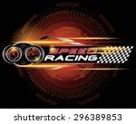 speed racing with speedometer... | Shutterstock .eps vector #296389853