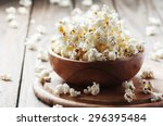 Salt Popcorn On The Wooden...
