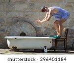man in retro swimsuit want... | Shutterstock . vector #296401184