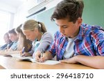 group of students takes the...   Shutterstock . vector #296418710