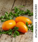 orange large tomatoes with... | Shutterstock . vector #296422880