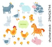 farm animals flat set isolated... | Shutterstock .eps vector #296426744