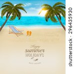 vacation background. beach with ... | Shutterstock .eps vector #296435930