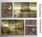 vector set of tri fold brochure ... | Shutterstock .eps vector #296437214