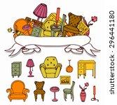 set of vector furniture hand... | Shutterstock .eps vector #296441180