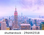 view of new york city at dusk. | Shutterstock . vector #296442518
