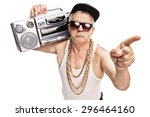 grumpy senior rapper carrying a ... | Shutterstock . vector #296464160
