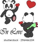 cute panda isolated on white... | Shutterstock . vector #296466104