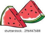 watermelon slices | Shutterstock .eps vector #296467688