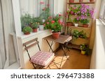 beautiful balcony with small... | Shutterstock . vector #296473388