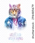 cute fashion hipster animals... | Shutterstock .eps vector #296485679
