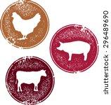 chicken pork and beef meat... | Shutterstock .eps vector #296489690