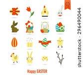 celebration easter icons. .... | Shutterstock . vector #296490044