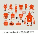 robot cute icons and characters | Shutterstock .eps vector #296492570