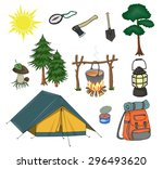 attributes for camping  yellow ... | Shutterstock .eps vector #296493620