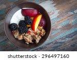 a bowl of healthy breakfast... | Shutterstock . vector #296497160