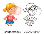 funny girl inflates a bubble of ... | Shutterstock .eps vector #296497340
