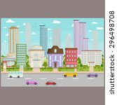 city buildings background image ... | Shutterstock .eps vector #296498708