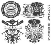 a set of pirate emblems with... | Shutterstock .eps vector #296502773
