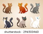 Set Of Cute Cartoon Cats With...