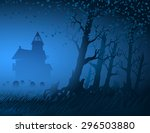 abandoned old house and... | Shutterstock .eps vector #296503880