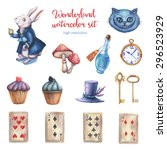 Stock photo watercolor wonderland set hand drawn vintage illustrations fairy tale design elements isolated on 296523929