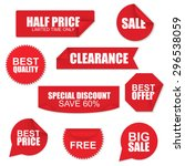 set of red paper sale stickers... | Shutterstock .eps vector #296538059