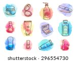 hand drawn watercolor set with...   Shutterstock .eps vector #296554730