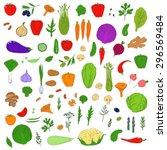 set of healthy vegetarian food. ... | Shutterstock .eps vector #296569484