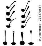 silhouettes of various ladle ... | Shutterstock .eps vector #296570654