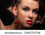 beautiful girl with a scar on... | Shutterstock . vector #296574746