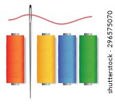 needle and threads isolated... | Shutterstock .eps vector #296575070