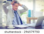furious businessman looking at... | Shutterstock . vector #296579750